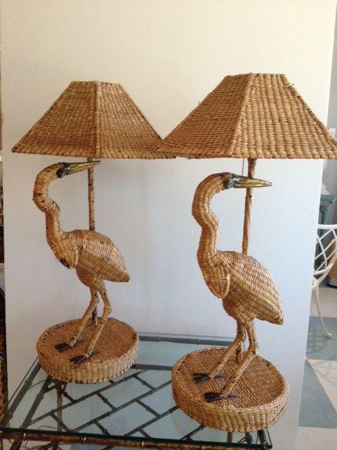 """MARIO LOPEZ TORRES= Pair of Mid Century Hollywood Regency, Vintage 1970""""s Mario Lopez Torres Bird Lamps"""