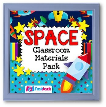 SPACE Themed Classroom Decor Materials Pack - If you are wanting to decorate your classroom with a fun outer space theme, this classroom decor pack will be a bright and colorful addition to your classroom!