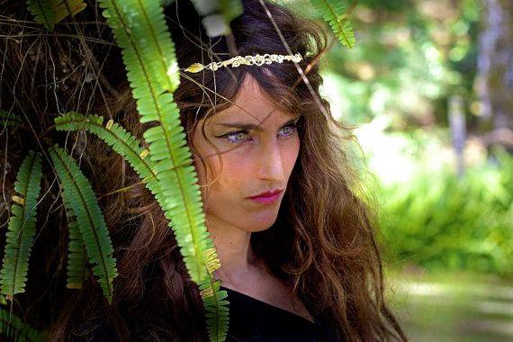 Leafy Lace Headband, Bridal Hair Accessories, Forehead Band, Bride Headpiece, Gold Wreath, Romantic Hair, Princess Headband, Fairy headpiece