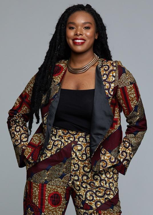 1d3e888918e Remi Women s African Print Bomber Jacket (Yellow Blue Multipattern ...