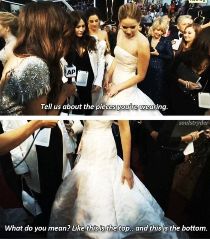 One of the many reasons you should love Jennifer Lawrence. At the oscars