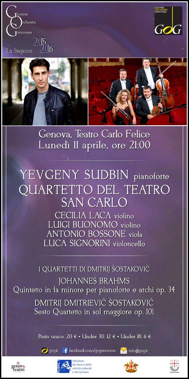 Yevgeny Sudbin, pianoforte / Quartetto del Teatro San Carlo   I Quartetti di  Šostakovič   Lunedì 11 aprile 2016, Teatro Carlo Felice, #Genova #gog1516