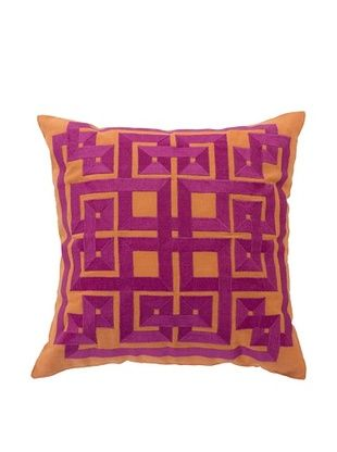 70% OFF Surya Geometric Throw Pillow (Jaffa Orange)