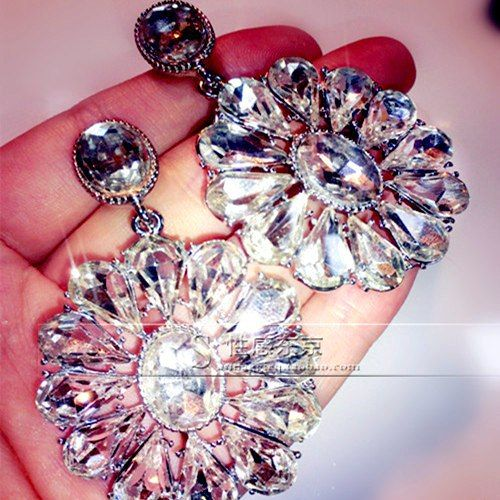 Moon White Clear Shourouk Flower Acrylic Gem Party Statement Drop Earrings 2015 New Fashion Jewelry For Women Gift Wholesale E74