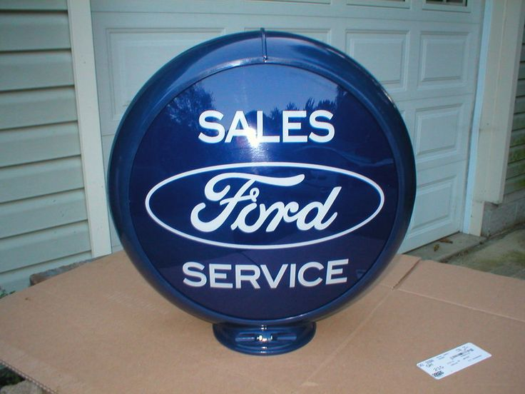 """Ford Sales and Service Gas Pump Globe 13.5"""" glass lens, plastic body"""