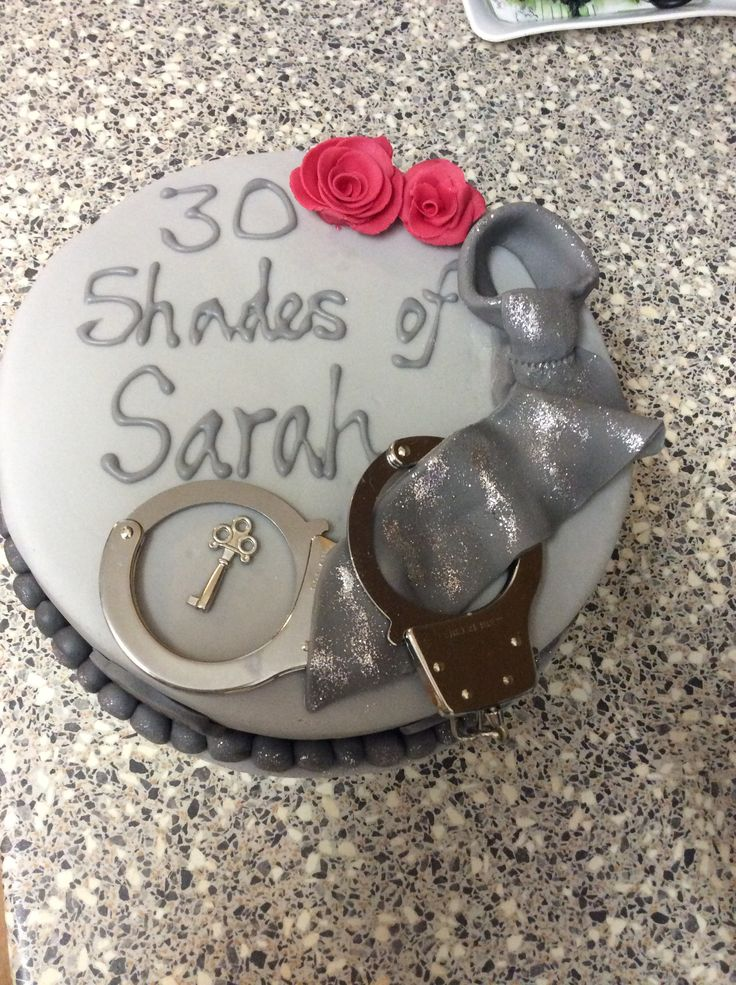 50 shades of grey themed birthday cake
