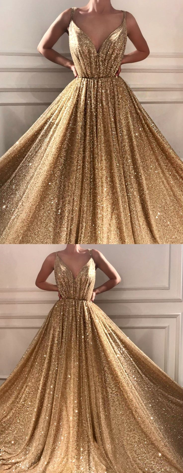 Sparkly Prom Dresses Spaghetti Straps A-line Gold Bling Long Sexy Prom Dress JKL1189