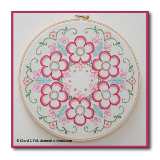 Surface Embroidered Daisy Wreath: Daisy Wreath in Surface Embroidery