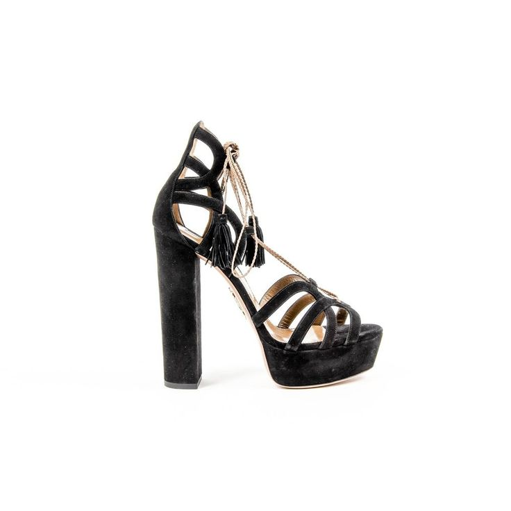 Black 40.5 EUR - 10.5 US Aquazzura Firenze Womens Lace-Up Sandal MIRHIGB0 SUN 000