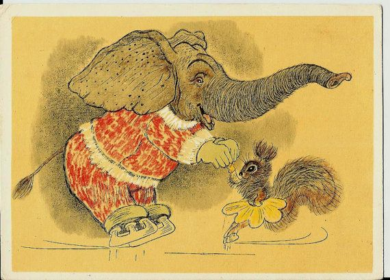 Elephant with Squirrel - Vintage  Russian Postcard by LucyMarket, $9.50