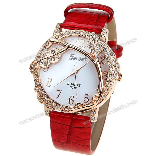 Wholesale Selden Quartz Watch with 12 Numbers Indicate Leather Watchband for Women - Red (RED), Women's Watches - Rosewholesale.com