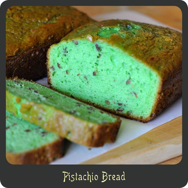Pistachio Bread—A fun colored tasty bread perfect for breakfast or dessert. Quick and easy to make and kids love it!