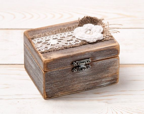 Ring Box Wedding Ring Holder Ring Pillow Bearer Box with Shabby Chic Rose Rustic Barn Wooden Burlap and Lace Love  Gift on Etsy, $28.47