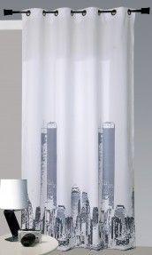 Rideau en Bachette Imprimé 'New York' Blanc