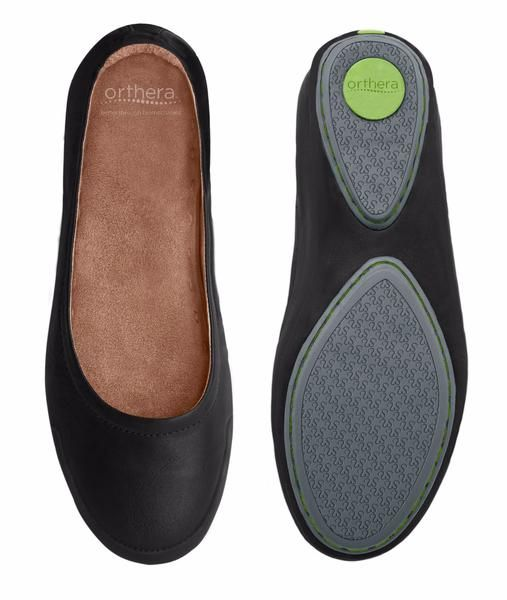 """NEW!!! The First Ballet Flat with a BiomechanicalOrthotic Insert and Full-Length Poron Cushion. Ideal for Women Suffering from Plantar Fasciitis, Knee- and Back Pain! All-day-comfort, support and durability in a unique package. The Bailadrina is a supportive fashion shoe made from supple, breathable and durable full grain leather and comes with a premium version of our medically engineered Orthotics made with extra thick 1/8"""" (4mm) superior PORON®Plus Cushioning and covered with p..."""
