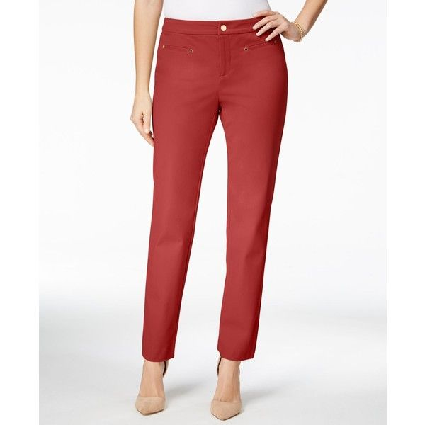 Charter Club Tummy-Control Slim-Leg Ankle Pants, ($52) ❤ liked on Polyvore featuring pants, capris, new coral, white ankle pants, short trousers, white pants, tummy control pants and white short pants