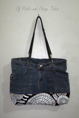 Jeans recyclé en sac, le système d'attaches pour les anses est intéressant.