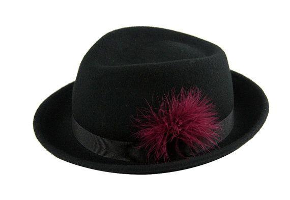 Mens Fedora Hat  , Winter Fedora Hat  ,  Black Fedora Hat  , Womens Hat , Mens Fedora Hat , Felt Fedora , Classic Fedora Hat ,  Hat Feather