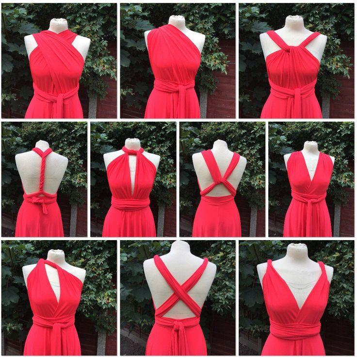 Beautiful Infinity dress Bridesmaid bright coral red stretch lycra multiway size medium by SoMonroebyElizabeth on Etsy https://www.etsy.com/listing/244505008/beautiful-infinity-dress-bridesmaid