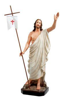 Gesù risorto cm. 130 altezza cm. 130 in vetroresina dipinto con colori acrilici e finiture ad olio disponibile anche con occhi di vetro  http://www.ovunqueproteggimi.com/collezione-statue/ges%C3%B9/risorto/