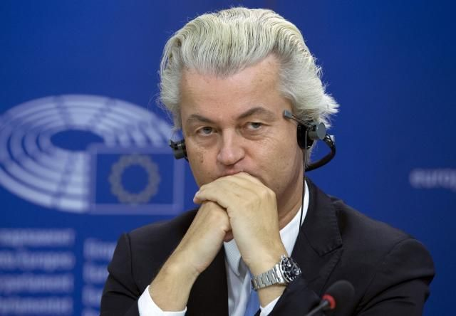 FILE PHOTO: Dutch far-right [read Fascist] Party for Freedom (PVV) leader Geert Wilders attends a joint news conference at the European Parliament in Brussels, Belgium June 16, 2015. REUTERS/Yves Herman/File Photo
