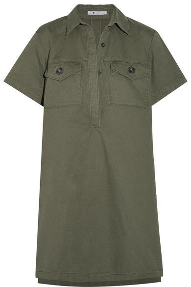 Army-green cotton-twill Concealed button fastenings along front 98% cotton, 2% elastane; trim: 65% polyester, 35% cotton Dry clean Designer color: Fatigue Imported