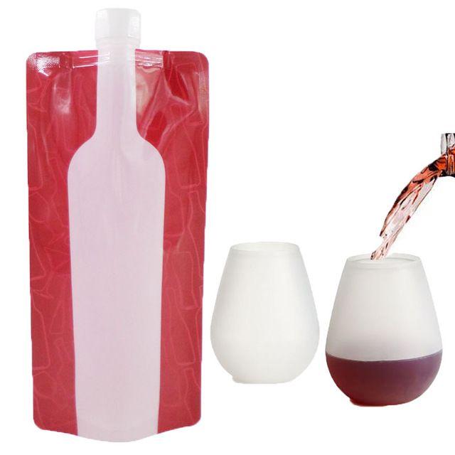 Вино Walker Питьевой Ломкий Открытый Алкоголь Set-Два Силиконовые Партия Очки и Две Складные Пластиковые Колбы, Бутылки
