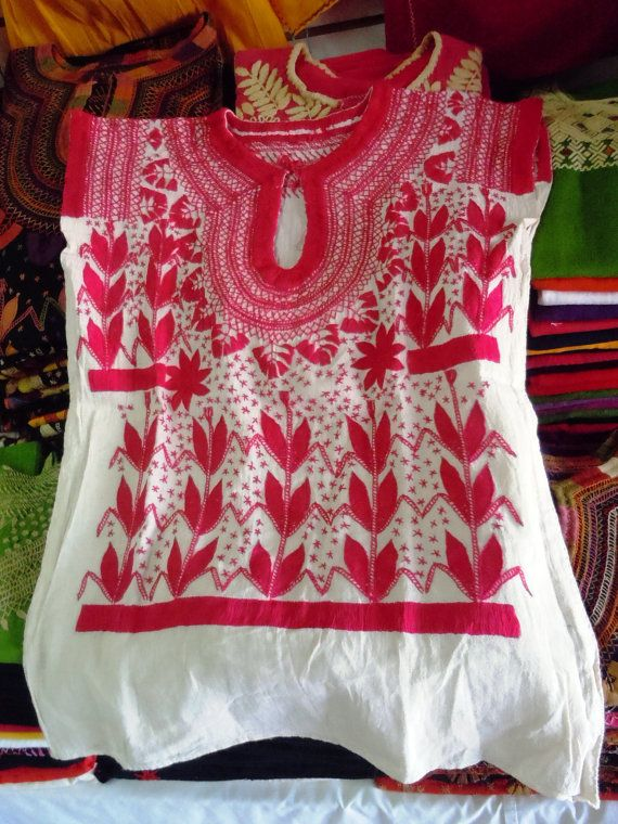 Hand embroidered Pink Blouse from Chiapas Rococo by ArteOtomi, $55.00
