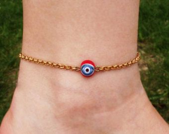 Anklet Beach Anklet Ankle Bracelet Ladybug by GlassHouseLampwork