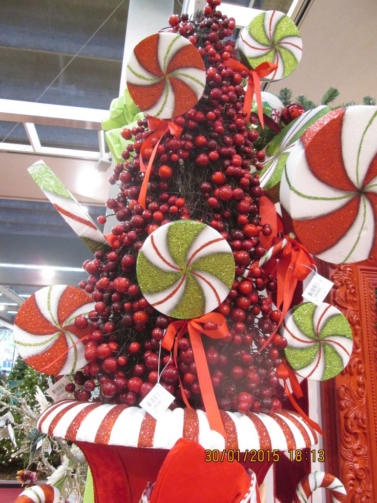 Décoration de Noël : sucettes géantes, lolipop