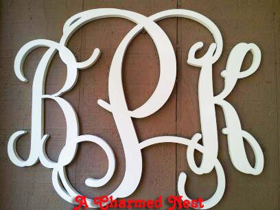 36 inch large vine connected wood monogram letters wedding nursery home decor on