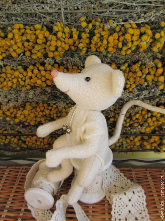 Купить Мышик - текстильные игрушки, мышка, мышонок, мыши, мышка тедди, мышата, белый, шкурка
