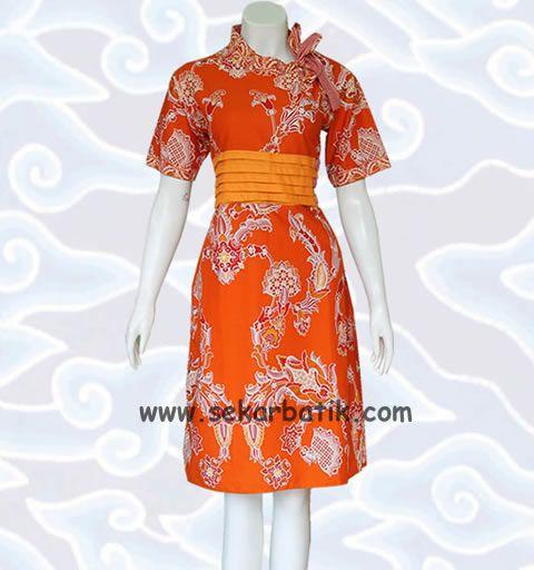 dress batik kerja orange terbaru BD40 di koleksi http://sekarbatik.com/dress-batik/