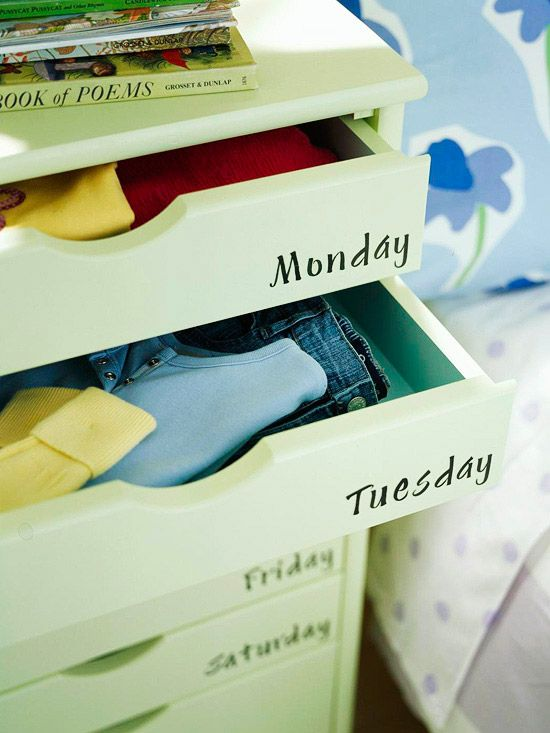 I love these clothing organizer for a young child. So much time can get wasted in the morning picking something out to wear. This way they could help create their week's outfits on laundry day and cut out the hassle in the mornings. I would add this feature into the built in cabinetry for the baby's room.
