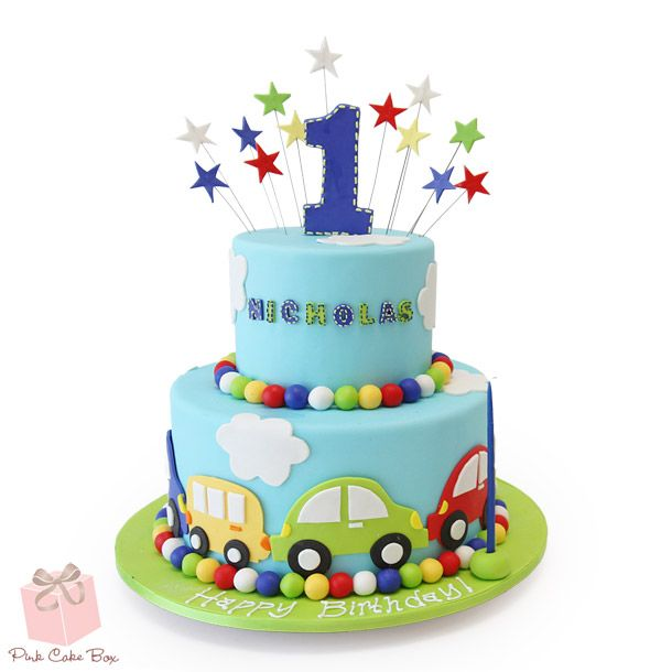 For Nicholas's first birthday we created this two tier car and cloud themed cake.  Happy Birthday Nicholas!