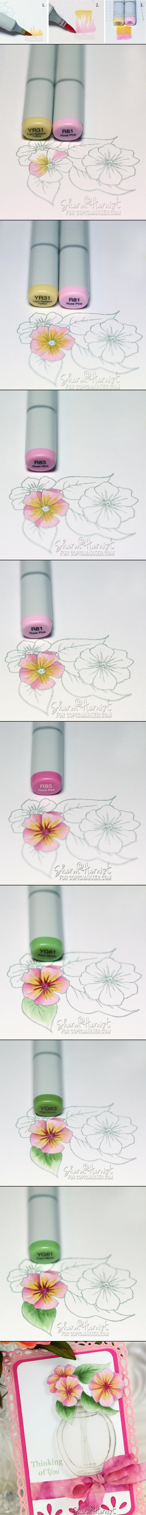 Copic Flowers and Feathered Blending