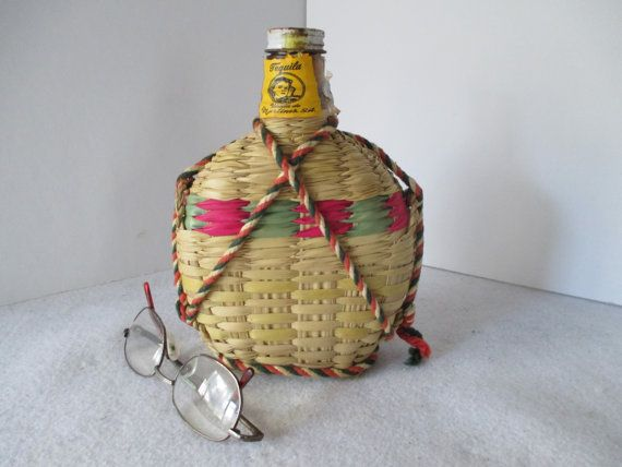 Tequila Bottle Woven Wicker Cover Vintage by HobbitHouse on Etsy