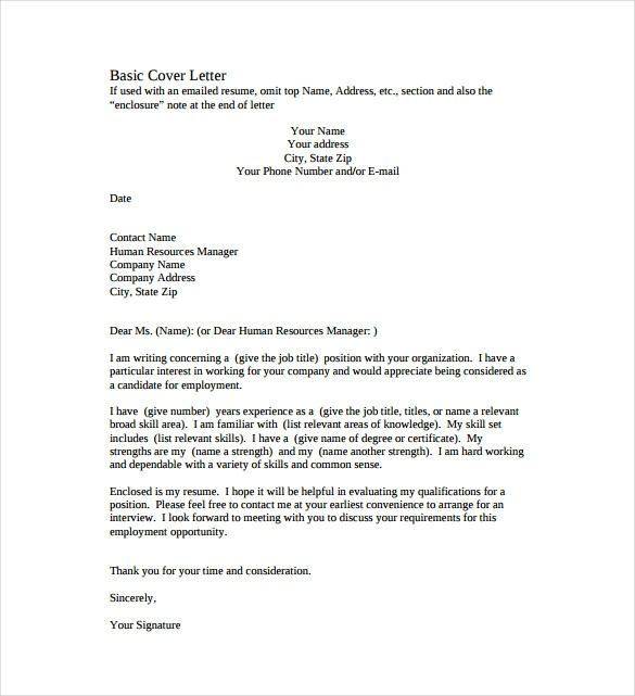 simple resume cover letter example