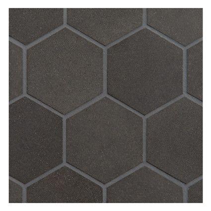 "3"" Grey Hex Tile - maybe for bath?  Complete Tile Collection NATURAL STONE BASALT MOSAIC TILE, Hexagon 3"" Mosaic, MI#: 065-S2-400-161, Color: Basalto"