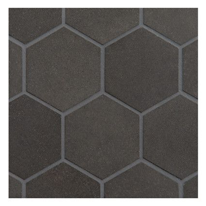 """BASALT MOSAIC TILE - Hexagon 3"""" Mosaic Honed Finish. Basalt is an extreemely dense volcanic stone in a deep charchoal black color, excellent for modern designs. Complete Tile Collection #BasaltMosaicTile"""