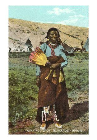 Black Cherokee Indians   Blackfoot Indian called Winnipeg Jack in Color Photo