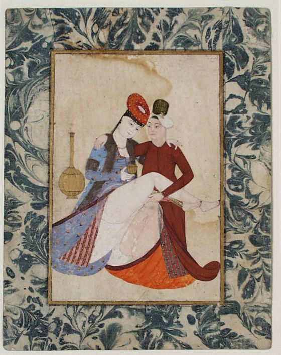 A Couple in Amorous Embrace Abdullah Bukhari (Turkey) Turkey, 1744/A.H. 1157 Manuscripts; folios Ink, opaque watercolor and gold on pape...