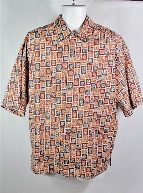 Raw Silk Block Print Shirt Men's Large 3Umc2j9p