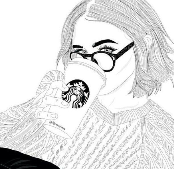 Good Photo De Fille Dessin #7: Noir Et Blanc, Dessin, Suivre, Suivez-moi, Starbucks