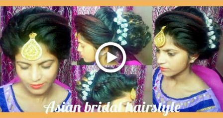 Latest Asian bridal hairstyle hair bun tutorial  in Hindi