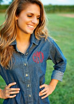 Monogrammed denim shirt - perfect for getting your hair & make up done before heading to the wedding venue!