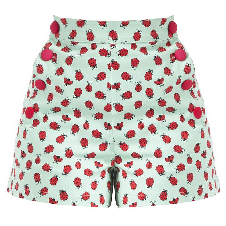 Da Donna Nuovo Ladybird Estate Vacanza Al Mare Crociera Pantaloncini Vintage 50s