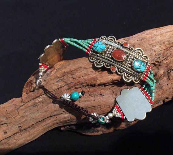 Armband Schmuck der Nepal Koralle Türkis Armband-Vintage-Style-Navajo Armband-Statement-Schmuck-Nepal Armband-Afghan - Tribal Ethno