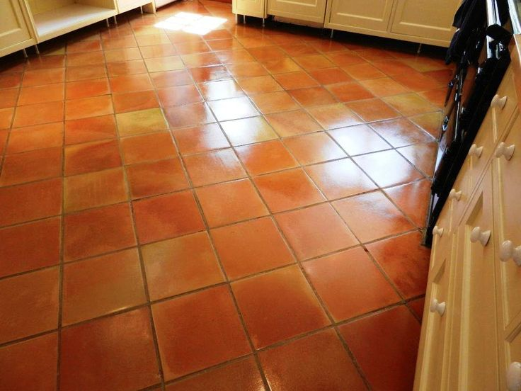 terracotta tiled floor in a kitchen after cleaning and sealing - Terra Cotta Tile Canopy 2015