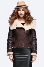 Mulheres de couro do falso inverno casaco de jaqueta gola(China (Mainland))